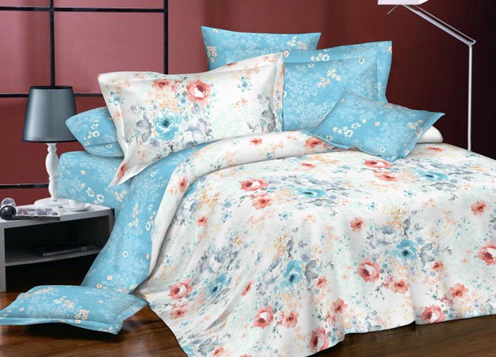 Комплект белья Primavera Пробуждение, евро, наволочки 70x70, 50x70, цвет: голубой