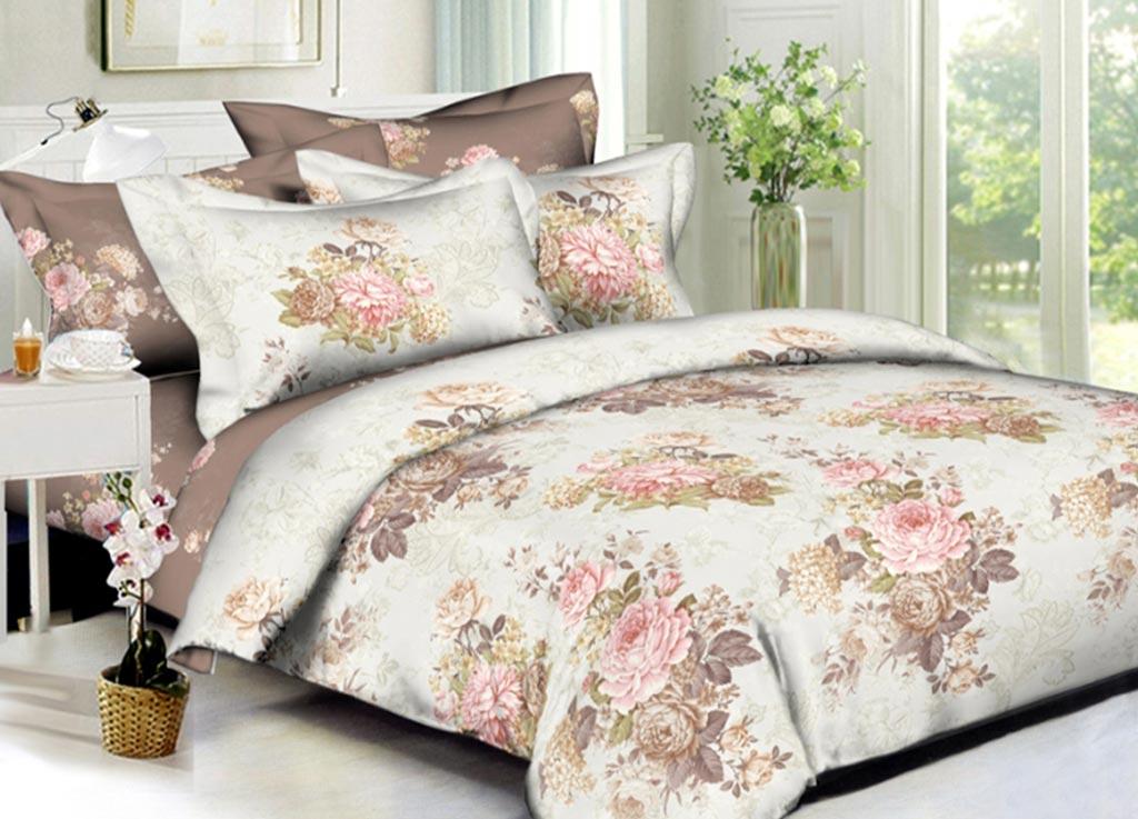 Комплект белья Primavera Букет пионов, евро, наволочки 70x70, 50x70, цвет: коричневый89993