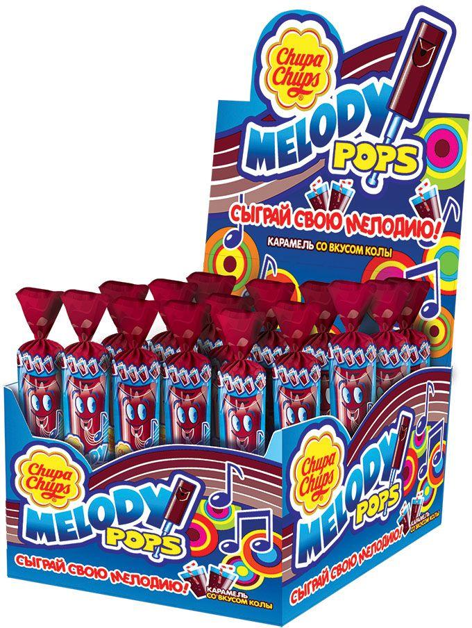 Chupa Chups карамель Melody Pops Кола, 48 шт по 15 г8251972Фруктовая карамель и одновременно настоящая свистулька, на которой можно играть разные мелодии.