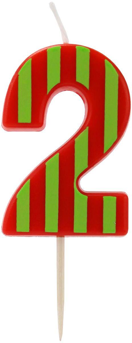 Action! Свеча-цифра для торта 2 года цвет красный салатовый
