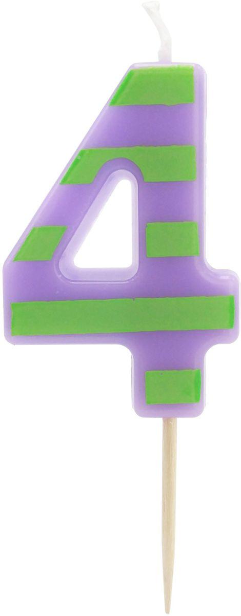 Action! Свеча-цифра для торта 4 года цвет фиолетовый зеленый susy card свеча цифра для торта 3 года цвет синий