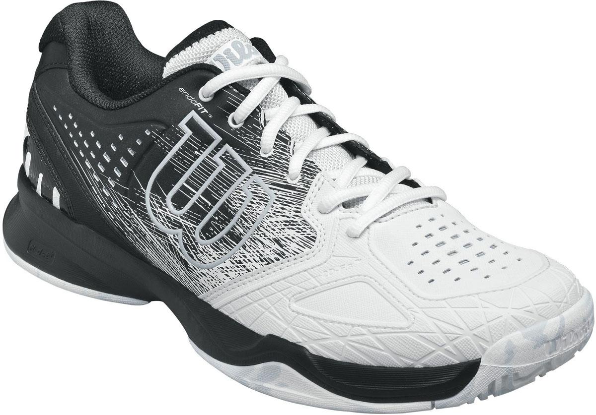 Кроссовки для тенниса мужские Wilson Kaos Comp, цвет: белый, черный. WRS322210. Размер 13,5 (48)WRS322210Мужские кроссовки для тенниса Kaos Comp от Wilson - легкая и комфортная модель для быстрых и атакующих спортсменов всех возрастов. Кроссовки создают законченный образ с одеждой бренда Wilson.Верх модели выполнен из искусственной кожи со вставками из дышащего текстиля и оформлен названием и логотипом бренда. Классическая шнуровка гарантирует удобство и надежно фиксирует модель на ноге. Технология EndoFit создает идеальный обхват и посадку по ноге. Технология 2D-F.S для устойчивости и стабильности при боковых движениях; шасси Pro-Torque Chassis LT в верхней части подошвы контролирует поверхности при небольшом весе обуви. Технология Dynamic Fit-Dfz дает отличный контакт с кортом. Химически активные вещества R-DST в пяточной части для максимальной амортизации. Технология Duralast для лучшего сцепления с поверхностью корта. Съемная стелька EVA с внешней текстильной поверхностью обеспечивает комфорт во время пребывания на улице. Антибактериальная пропитка против запаха.