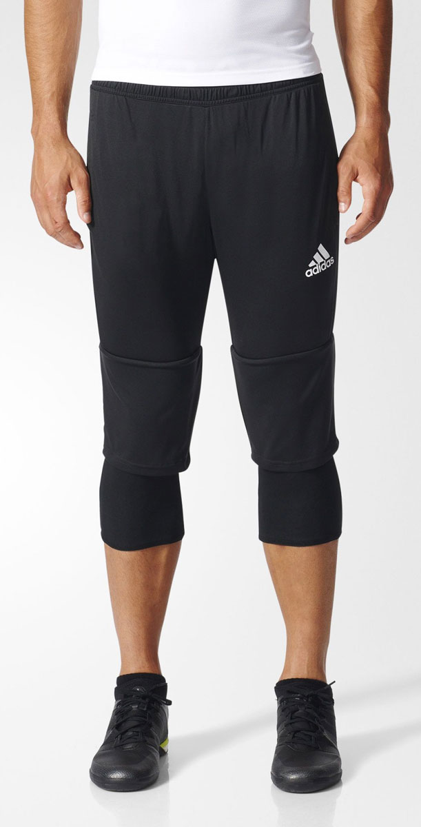 Брюки спортивные мужские adidas Tiro17 3/4 Pnt, цвет: черный. AY2879. Размер XS (40/42)AY2879Брюки спортивные мужские adidas Tiro17 3/4 Pnt выполнены из 100% полиэстера. Сшиты из эластичной ткани, которая обеспечивает полную свободу движений во время приседаний и выпадов. Легкая модель дополнена внутренними шортами для повышенного комфорта и карманами на молнии для хранения полезных мелочей. Эластичный пояс на регулируемых завязках-шнурках.