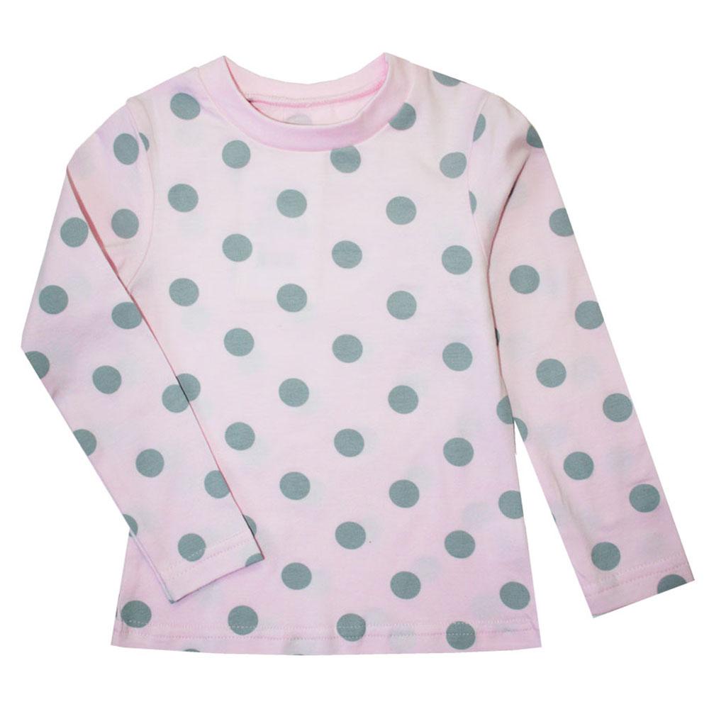 Лонгслив для девочки КотМарКот Горох, цвет: розовый, серый. 15746. Размер 122, 7 лет футболка детская котмаркот цвет светло зеленый 14106 размер 122 7 лет