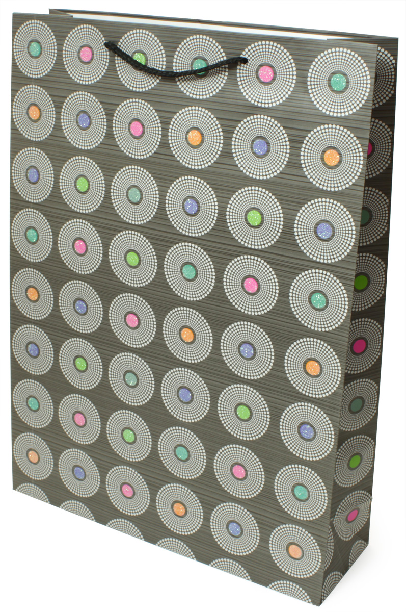 Пакет подарочный МегаМАГ Premium. Круги, 32,4 х 44,5 х 10,2 см. 505 XLP505 XLPПодарочный пакет МегаМАГ, изготовленный из плотной ламинированной бумаги, станет незаменимым дополнением к выбранному подарку. Для удобной переноски на пакете имеются ручки-шнурки.Подарок, преподнесенный в оригинальной упаковке, всегда будет самым эффектным и запоминающимся. Окружите близких людей вниманием и заботой, вручив презент в нарядном, праздничном оформлении.