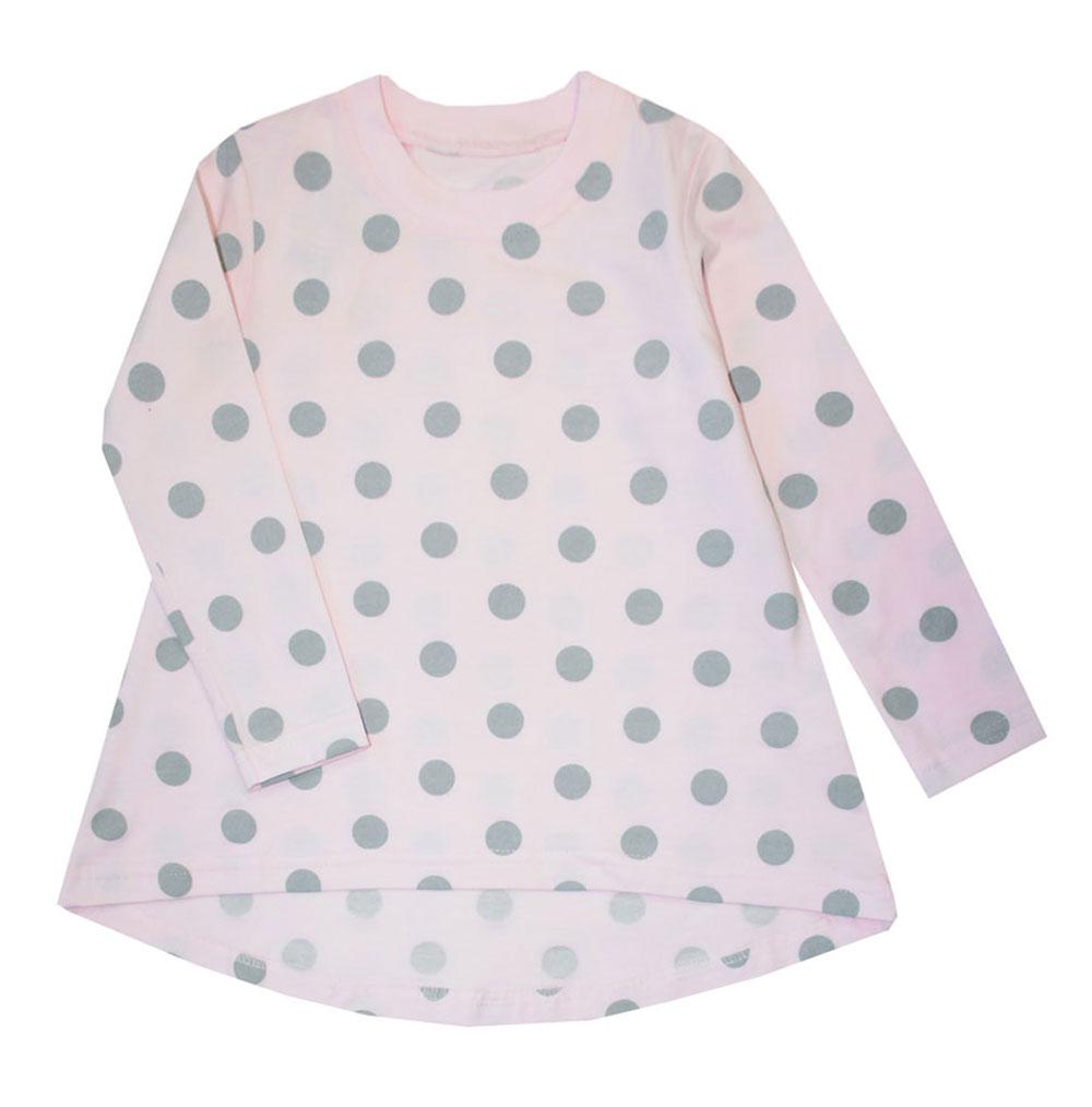 Туника для девочки КотМарКот Горох, цвет: розовый, серый. 15846. Размер 122, 7 лет туника котмаркот