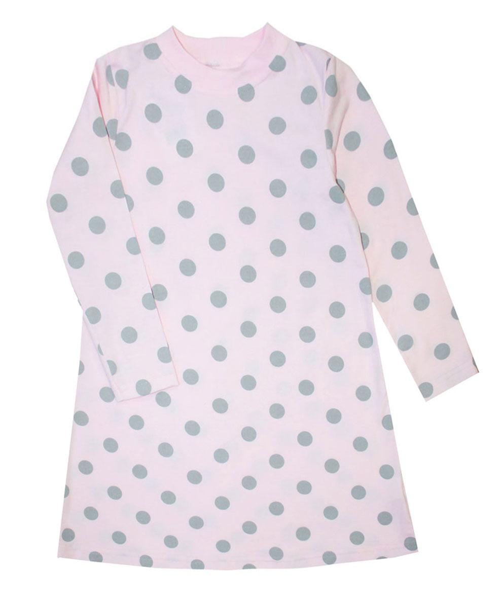 Платье для девочки КотМарКот Горох, цвет: розовый, серый. 21746. Размер 122, 7 лет21746Платье для девочки КотМарКот Горох выполнено из натурального хлопка.Модель средней длины с длинными рукавами имеет круглый вырез горловины, отделанный эластичной бейкой. Платье оформлено принтом в крупный горох.