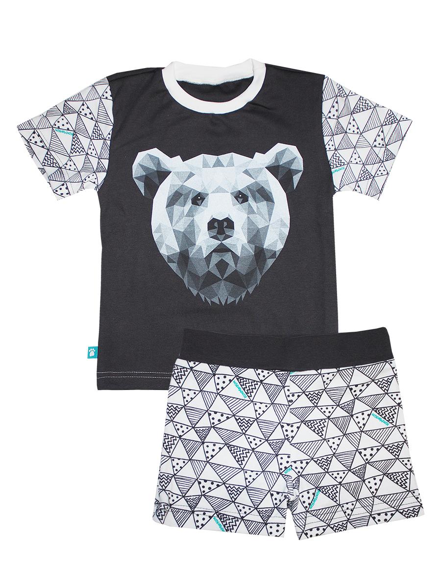 Пижама для мальчика Геометрия, цвет: белый, серый. 16473. Размер 12816473Пижама для мальчика КотМарКот Геометрия включает в себя футболку и шорты. Пижама изготовлена из натурального хлопка. Футболка с короткими рукавами и круглым вырезом горловины оформлена оригинальным принтом. Шорты дополнены широкой эластичной резинкой на поясе.