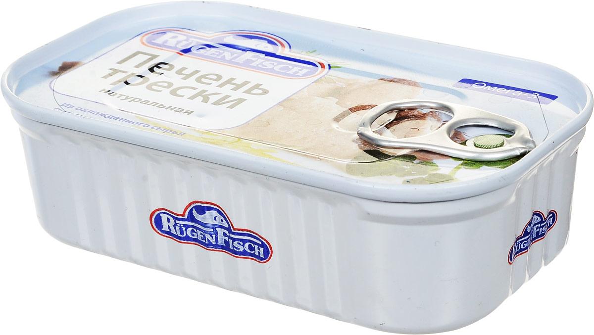 Rugen Fisch печень трески натуральная, 115 г79020Rugen Fisch - настоящая печень трески из Исландии. Печень разложена в банке целостными кусочками.Печень трески является источником рыбьего жира, содержит в значительном количестве ряд важных для организма человека веществ: витамины А, D, E, ненасыщенные жирные кислоты, фолиевую кислоту, белки.