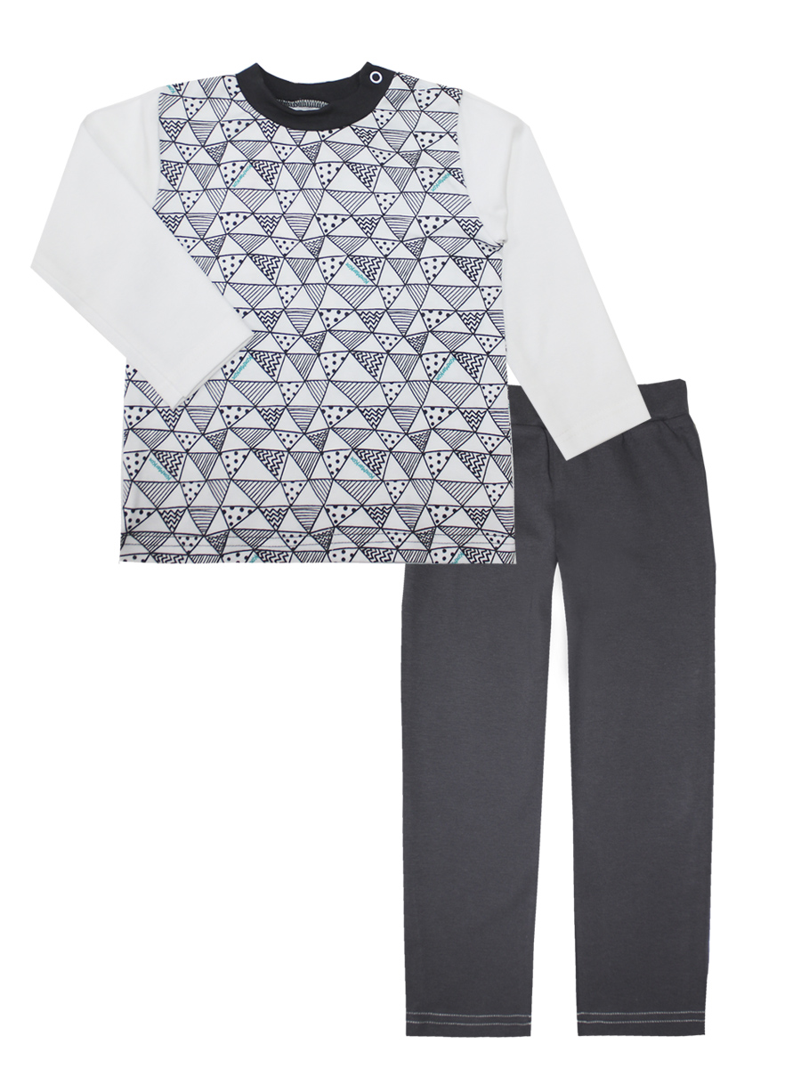 Пижама для мальчика КотМарКот Геометрия, цвет: белый, серый. 16873. Размер 11016873Пижама для мальчика КотМарКот Геометрия включает в себя лонгслив и брюки. Пижама изготовлена из натурального хлопка.Лонгслив с длинными рукавами и круглым вырезом горловины дополнен двумя кнопками на плече для удобства переодевания. Свободные брюки с широкой эластичной резинкой на поясе.