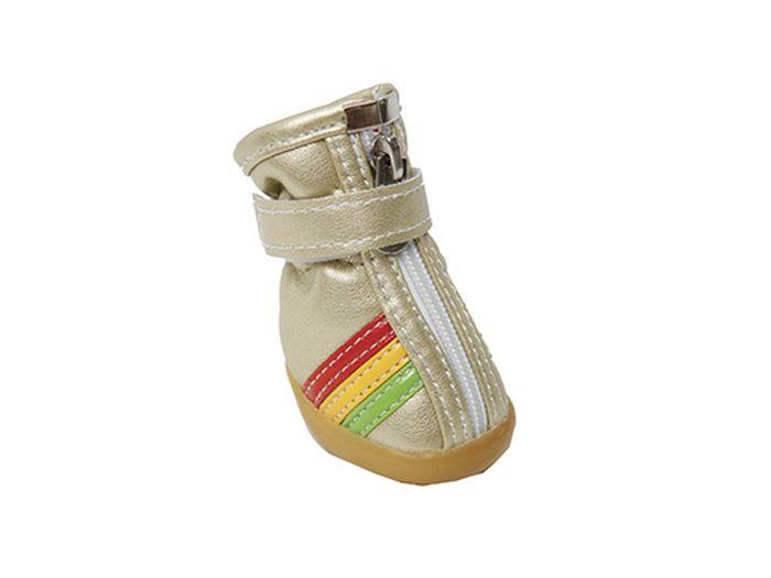 Ботинки для собак Каскад  Цветные полосы , унисекс, цвет: золотой. Размер XS - Одежда, обувь, украшения