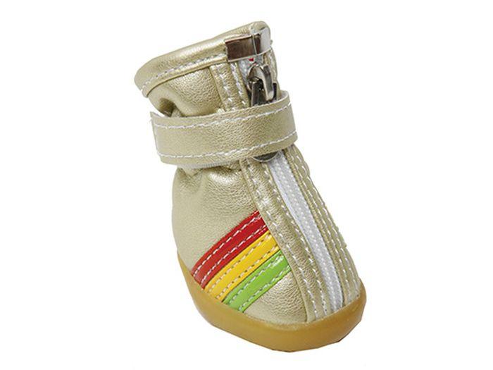 Ботинки для собак Каскад  Цветные полосы , унисекс, цвет: золотой. Размер M - Одежда, обувь, украшения