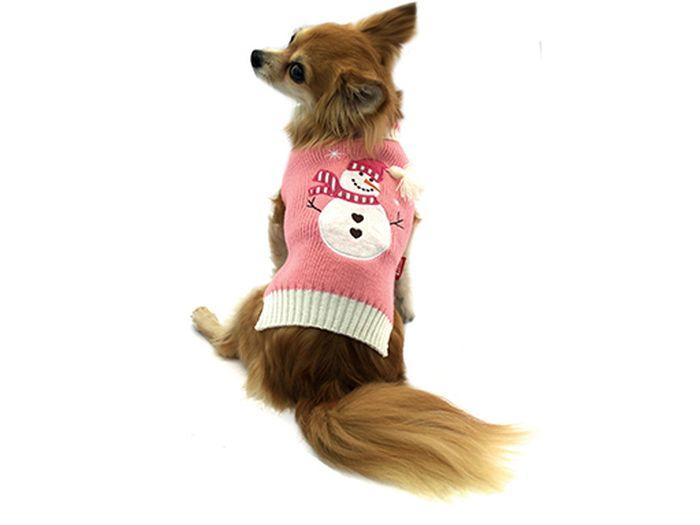 все цены на Свитер для собак Каскад Снеговик, унисекс, цвет: розовый, белый. Размер XL
