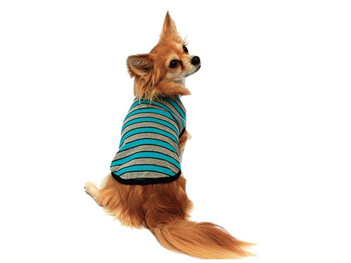 Майка для собак Каскад Полоска, унисекс, цвет: серый, голубой. Размер L52000449Майка для собак Каскад Полоска выполнена из трикотажа в полоску. Майка не имеет рукавов, поэтому не ограничивает свободу движений, и собачка будет чувствовать себя в ней комфортно. На животике имеется липучка.Модная и невероятно удобная трикотажная футболка защитит вашего питомца от пыли и насекомых на улице, согреет дома или на даче.Одежда для собак: нужна ли она и как её выбрать. Статья OZON Гид