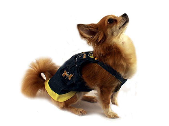 Сарафан для собак Каскад, цвет: темно-синий, желтый. Размер S52000502Джинсовый сарафан для собак Каскад отлично подойдет для прогулок или для дома. Изделие оснащено лямками, которые не ограничивают свободу движений, и собачка будет чувствовать себя в нем комфортно. Спинка модели дополнена нашивками. Модный и удобный сарафан согреет вашего питомца во время прогулок и защитит от пыли и насекомых.Длина по спинке: 20 см.Одежда для собак: нужна ли она и как её выбрать. Статья OZON Гид