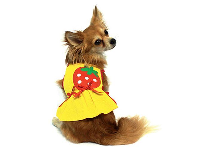 Платье для собак Каскад Клубничка, для девочки, цвет: желтый. Размер M52000574