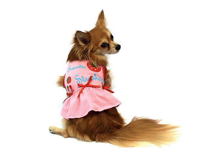 Платье для собак Каскад  Клубничка , цвет: розовый, красный. Размер S