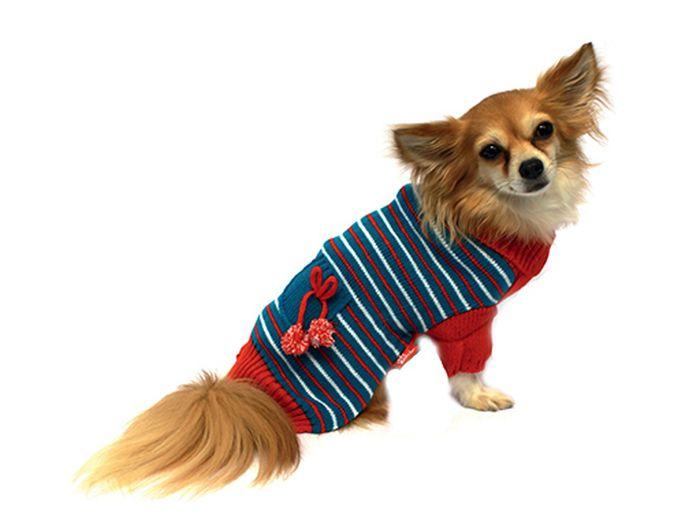 Свитер для собак Каскад Полоска, унисекс, цвет: голубой, красный. Размер M52000641Теплый свитер для собак Каскад с высоким воротником отлично подойдет для прогулок в прохладную погоду. Манжеты рукавов и воротник выполнены эластичной вязкой для удобного одевания и снятия. Свитер не ограничивает свободу движений, поэтому собачка будет чувствовать себя в нем комфортно. Модель дополнена принтом в полоску, на спинке расположен карман с помпонами. Такой свитер защитит вашего питомца от холода и ветра. Длина по спинке: 25 см.УВАЖАЕМЫЕ КЛИЕНТЫ! Обращаем ваше внимание, что размеру M соответствует длина спины 25 см.Одежда для собак: нужна ли она и как её выбрать. Статья OZON Гид