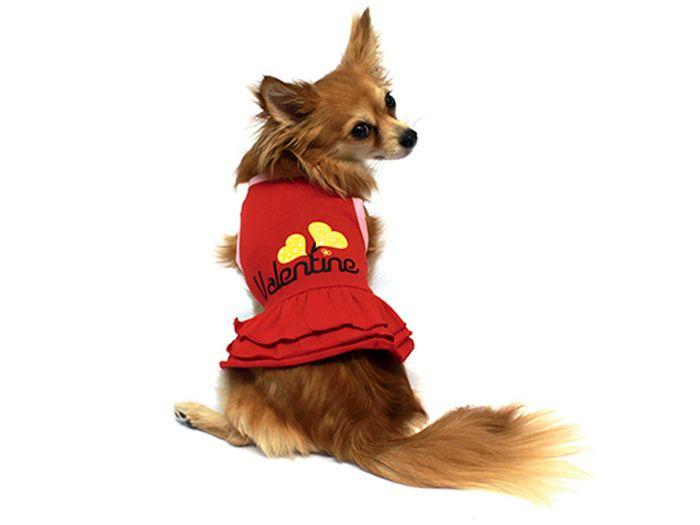 Платье для собак Каскад Два сердца, цвет: красный. Размер M52000695Платье для собак Каскад отлично подойдет для прогулок или для дома. Платье не имеет рукавов, поэтому не ограничивает свободу движений, и собачка будет чувствовать себя в нем комфортно. Спинка модели украшена изображением двух сердец, низ дополнен оборками.Модное и удобное платье согреет вашего питомца во время прогулок и защитит от пыли и насекомых.Длина по спинке: 25 см.