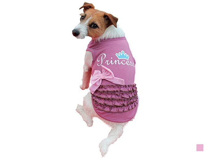 Майка для собак Каскад Princess, для девочки, цвет: розовый. Размер L52000954Майка для собак Каскад выполнена из трикотажа. Майка без рукавов не ограничивает свободу движений, поэтому собачка будет чувствовать себя в ней комфортно. Спинка модели дополнена рюшами, бантиком и надписью Princess.Модная и невероятно удобная трикотажная майка защитит вашего питомца от пыли и насекомых на улице, согреет дома или на даче.Длина по спинке: 30 см. Одежда для собак: нужна ли она и как её выбрать. Статья OZON Гид
