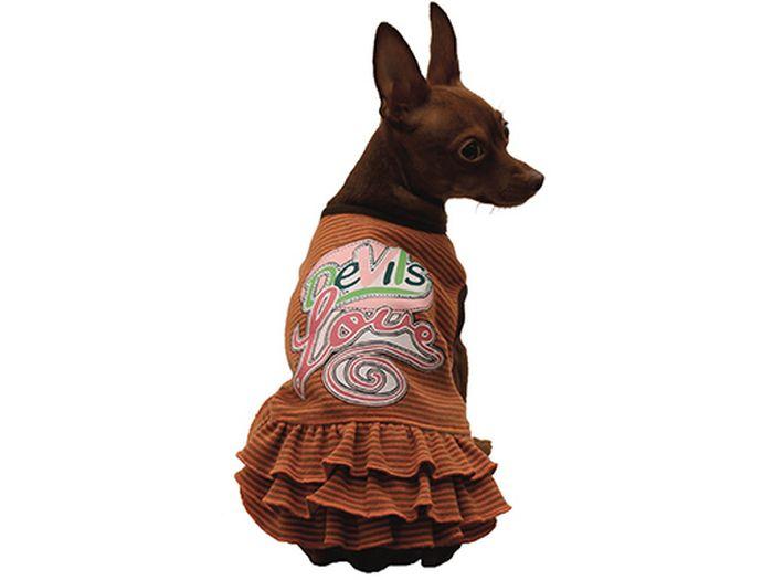 Сарафан для собак Каскад Devils Love, цвет: коричневый. Размер S52000957Стильный сарафан для собак Каскад отлично подойдет для прогулок или для дома. Изделие не ограничивает свободу движений, поэтому собачка будет чувствовать себя в нем комфортно. Спинка модели украшена надписями, низ дополнен оборками. Модный и удобный сарафан согреет вашего питомца во время прогулок и защитит от пыли и насекомых.Длина по спинке: 20 см.