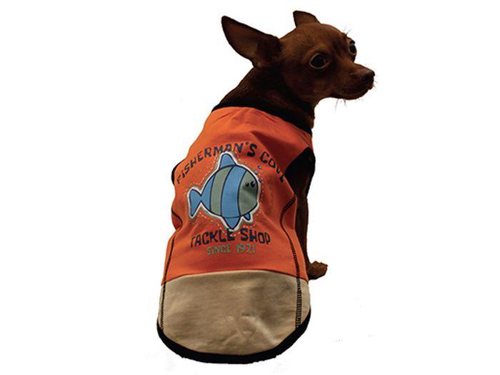 Майка для собак Каскад FishermanS Cove, унисекс, цвет: оранжевый. Размер M52000963Майка для собак Каскад выполнена из трикотажа. Майка не ограничивает свободу движений, поэтому собачка будет чувствовать себя в ней комфортно. Спинка модели украшена надписями и изображением рыбки. Модная и невероятно удобная трикотажная майка защитит вашего питомца от пыли и насекомых на улице, согреет дома или на даче.Длина по спинке: 25 см. Одежда для собак: нужна ли она и как её выбрать. Статья OZON Гид