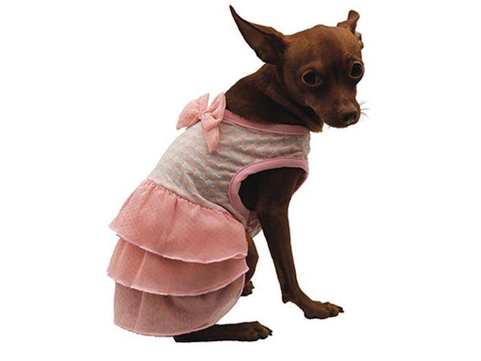 Сарафан для собак Каскад С бантом, для девочки, цвет: розовый. Размер M52000978