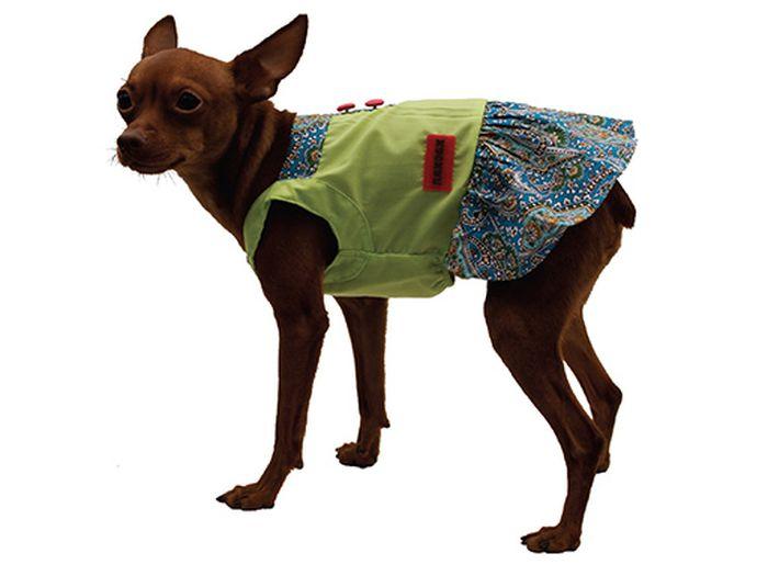Сарафан для собак Каскад Восточный огурец, цвет: салатовый, синий. Размер XL52000995Стильный сарафан для собак Каскад отлично подойдет для прогулок или для дома. Изделие не имеет рукавов, поэтому не ограничивает свободу движений, и собачка будет чувствовать себя в нем комфортно. Модель украшена принтом в восточном стиле и дополнена декоративными пуговицами. Модный и удобный сарафан согреет вашего питомца во время прогулок и защитит от пыли и насекомых.Длина по спинке: 35 см.Одежда для собак: нужна ли она и как её выбрать. Статья OZON Гид