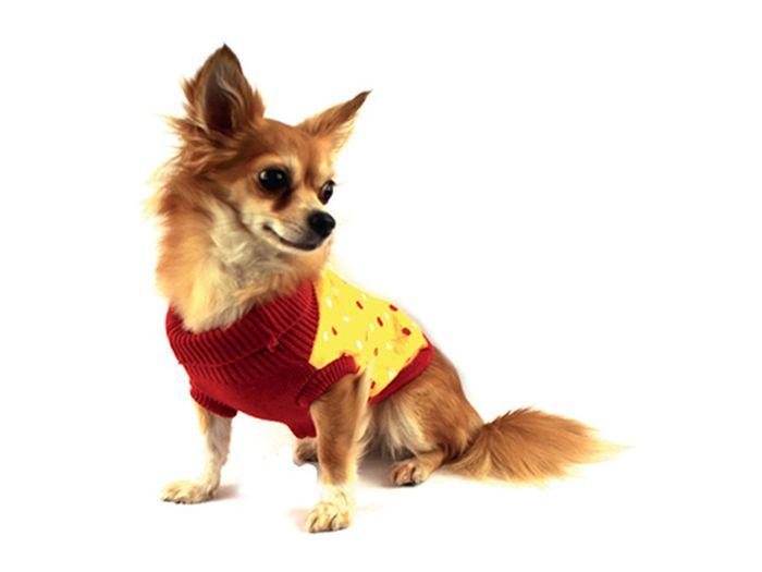 Свитер для собак Каскад Собачка, унисекс, цвет: желтый, красный. Размер XL52001040Теплый свитер для собак Каскад с воротником отлично подойдет для прогулок в прохладную погоду. Воротник и проймы рукавов выполнены эластичной вязкой для удобного одевания и снятия. Свитер не ограничивает свободу движений, поэтому собачка будет чувствовать себя в нем комфортно. Спинка дополнена принтом в горошек. Такой свитер защитит вашего питомца от холода и ветра. Длина по спинке: 35 см.Одежда для собак: нужна ли она и как её выбрать. Статья OZON Гид
