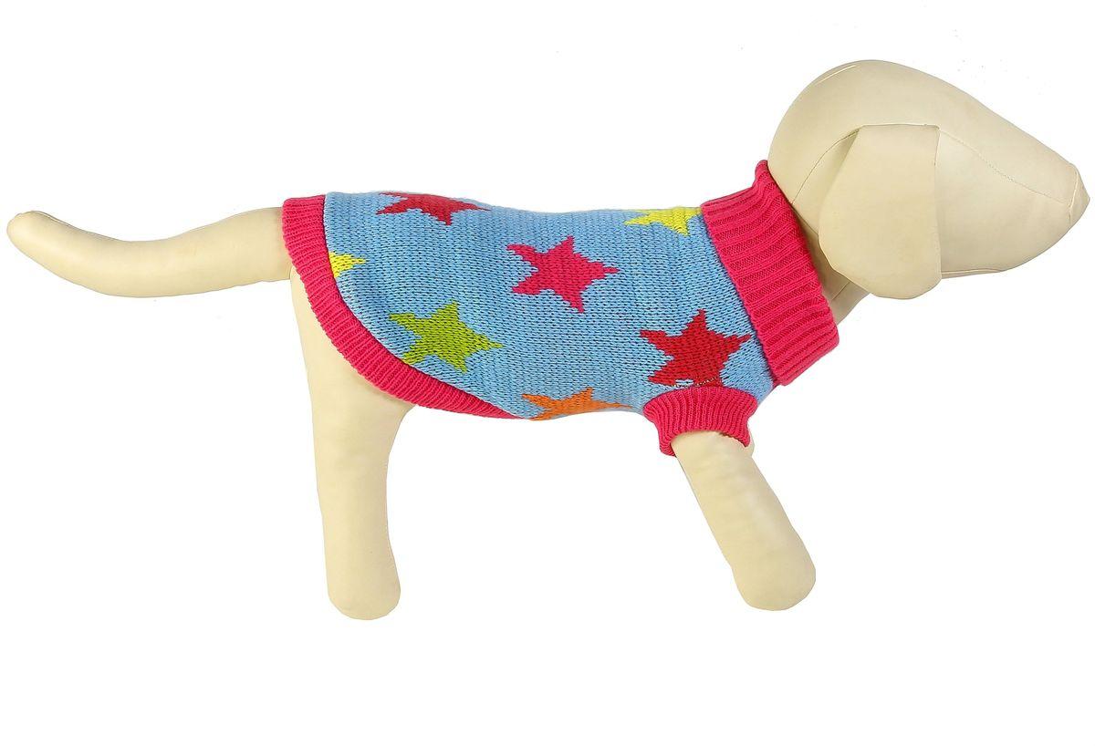 Свитер для собак Каскад Звезды, унисекс, цвет: голубой. Размер S52001052Теплый свитер для собак Каскад с высоким воротником отлично подойдет для прогулок в прохладную погоду. Края изделия, манжеты рукавов и воротник выполнены эластичной вязкой для удобного одевания и снятия. Модель дополнена принтом в виде звезд. Изделие не ограничивает свободу движений, и собачка будет чувствовать себя в нем комфортно. Такой свитер согреет вашего питомца и защитит его от холода и ветра. Длина по спинке: 20 см.Одежда для собак: нужна ли она и как её выбрать. Статья OZON Гид