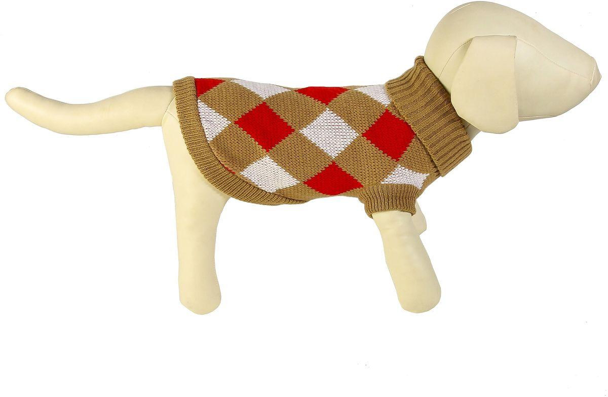 Свитер для собак Каскад Клетка крупная, унисекс, цвет: коричневый, красный. Размер XXL
