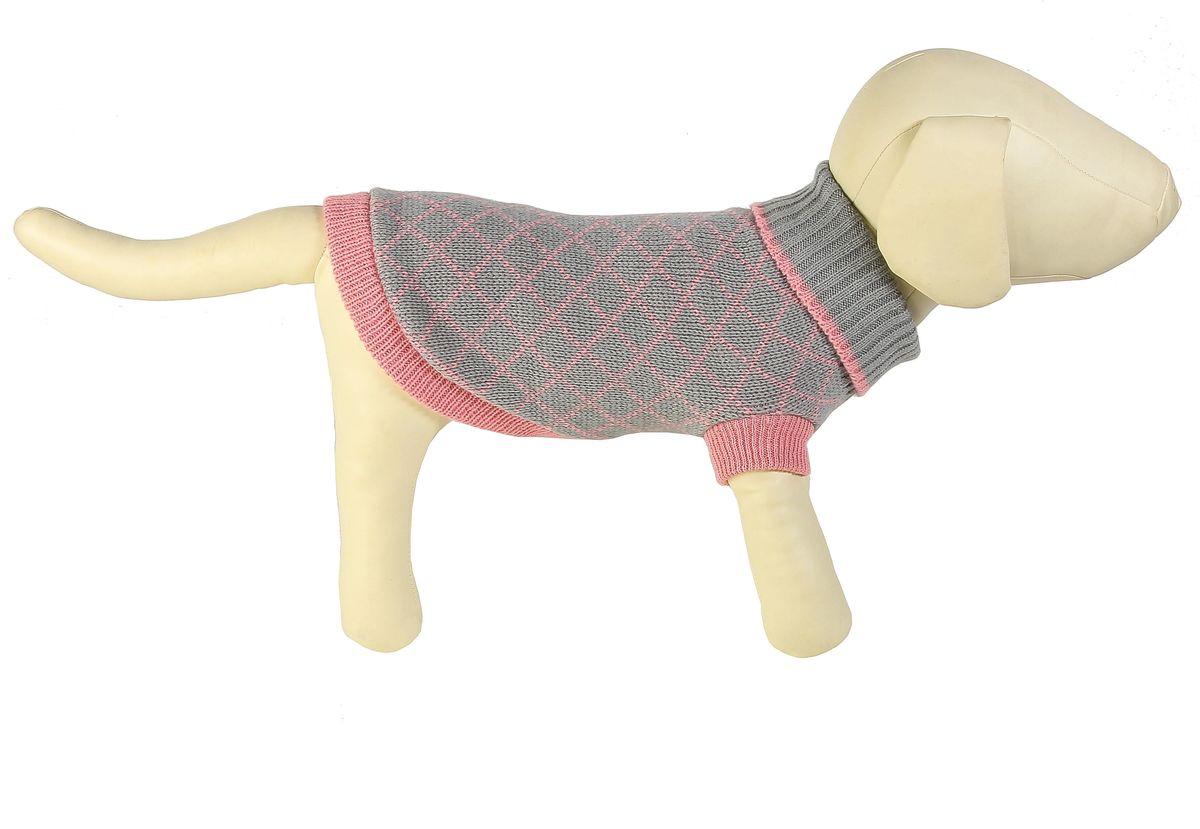 все цены на Свитер для собак Каскад Клетка мелкая, унисекс, цвет: серый, розовый. Размер M