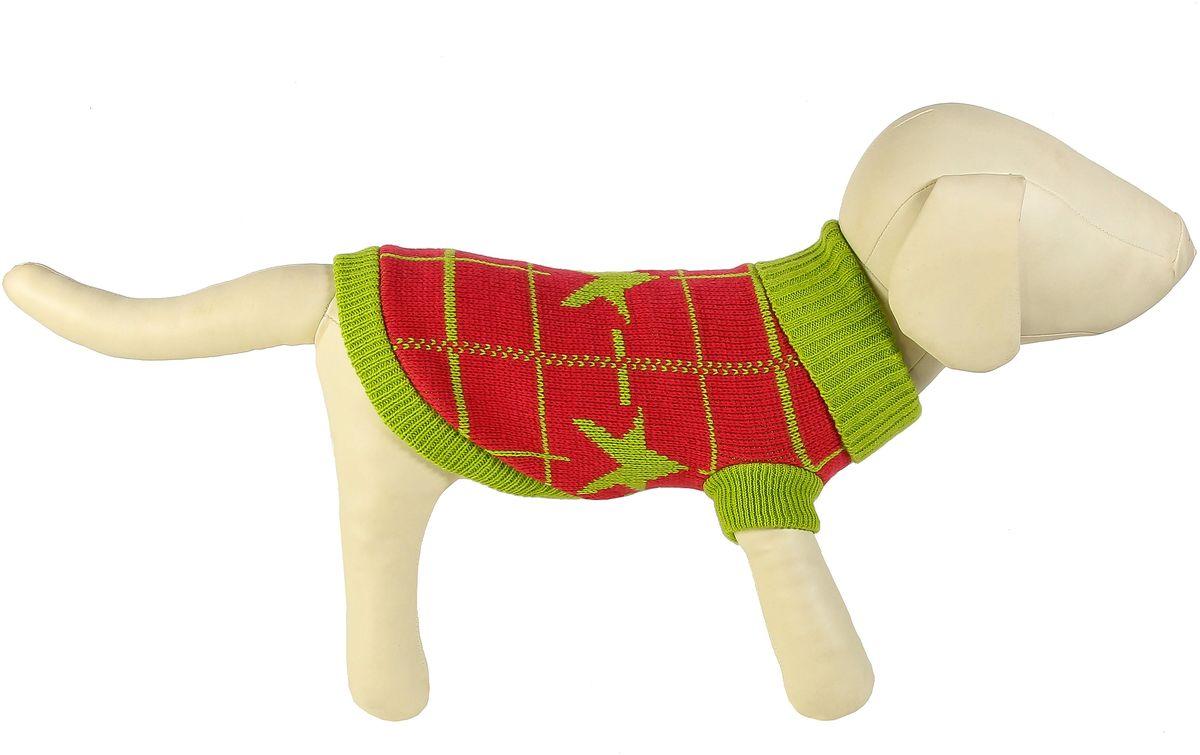Свитер для собак Каскад Звезда и клетка, унисекс, цвет: зеленый, красный. Размер L трос привязочный для собак каскад длина 3 м