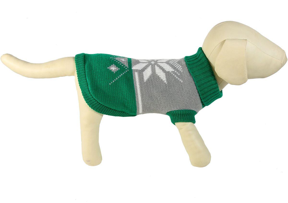 Свитер для собак Каскад Снежинка, унисекс, цвет: зеленый, серый. Размер L52001073Теплый свитер для собак Каскад с высоким воротником отлично подойдет для прогулок в прохладную погоду. Края изделия, манжеты рукавов и воротник выполнены эластичной вязкой для удобного одевания и снятия. Свитер не ограничивает свободу движений, и собачка будет чувствовать себя в нем комфортно. Спинка дополнена изображением снежинки. Такой свитер согреет вашего питомца и защитит его от холода и ветра. Длина по спинке: 30 см.Одежда для собак: нужна ли она и как её выбрать. Статья OZON Гид