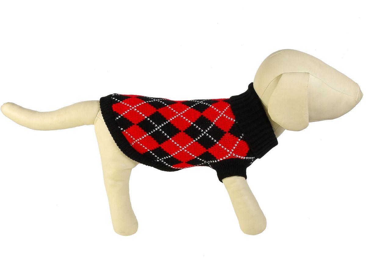 """Свитер для собак Каскад """"Ромбы"""", унисекс, цвет: черный, красный. Размер XXL"""