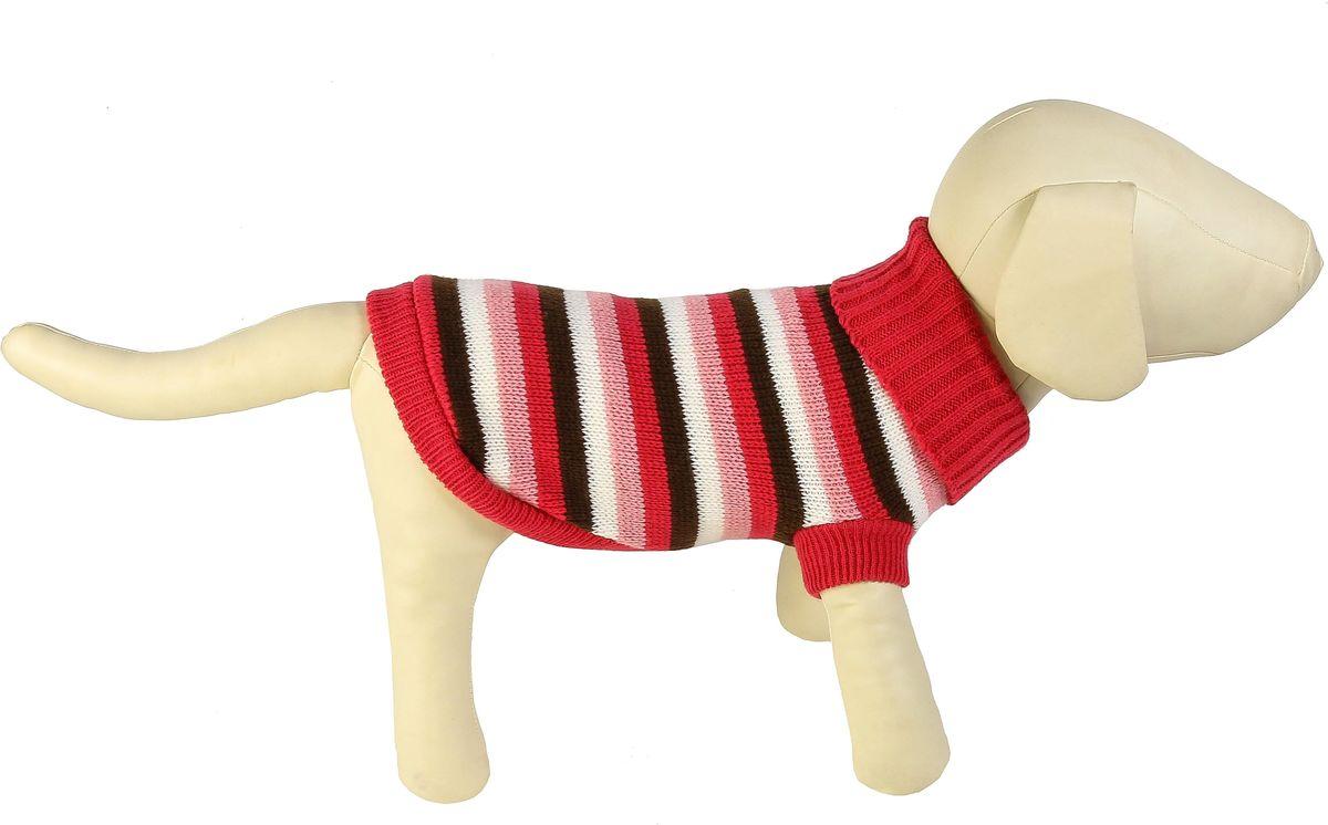Свитер для собак Каскад Полоска, унисекс, цвет: розовый, коричневый. Размер M52001085Теплый свитер для собак Каскад с высоким воротником отлично подойдет для прогулок в прохладную погоду. Края изделия, манжеты рукавов и воротник выполнены эластичной вязкой для удобного одевания и снятия. Свитер не ограничивает свободу движений, и собачка будет чувствовать себя в нем комфортно. Модель дополнена принтом в полоску. Такой свитер согреет вашего питомца и защитит его от холода и ветра. Длина по спинке: 25 см.Одежда для собак: нужна ли она и как её выбрать. Статья OZON Гид