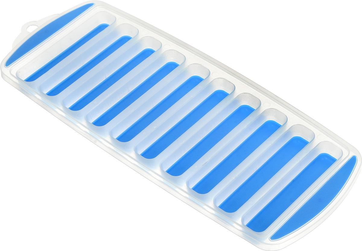 Форма для льда Menu Айсберг, цвет: синий, прозрачный, 10 ячеекASB-10_синийФорма Menu Айсберг, изготовленная из высококачественного пластика с гибким дном, содержит 10 ячеек. Прекрасно подходит для приготовления длинных и тонких льдинок, которые идеально подходят для охлаждения бутылок с водой и напитками. Форма также подходит для замораживания воды, сока, мороженного, трав в масле, вина, шоколада и бульона. Размер ячейки: 1,8 х 9,5 см. Количество ячеек: 10 шт. Размер формы: 11,5 х 29,5 х 2 см.