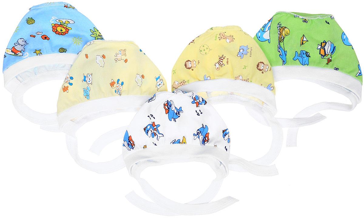 Чепчик для мальчика Фреш Стайл, цвет: голубой, зеленый, желтый, белый, 5 шт. 33-123м. Размер 48 боди для мальчика spasilk цвет белый голубой зеленый 4 шт on s4hs2 размер xxl 18 месяцев