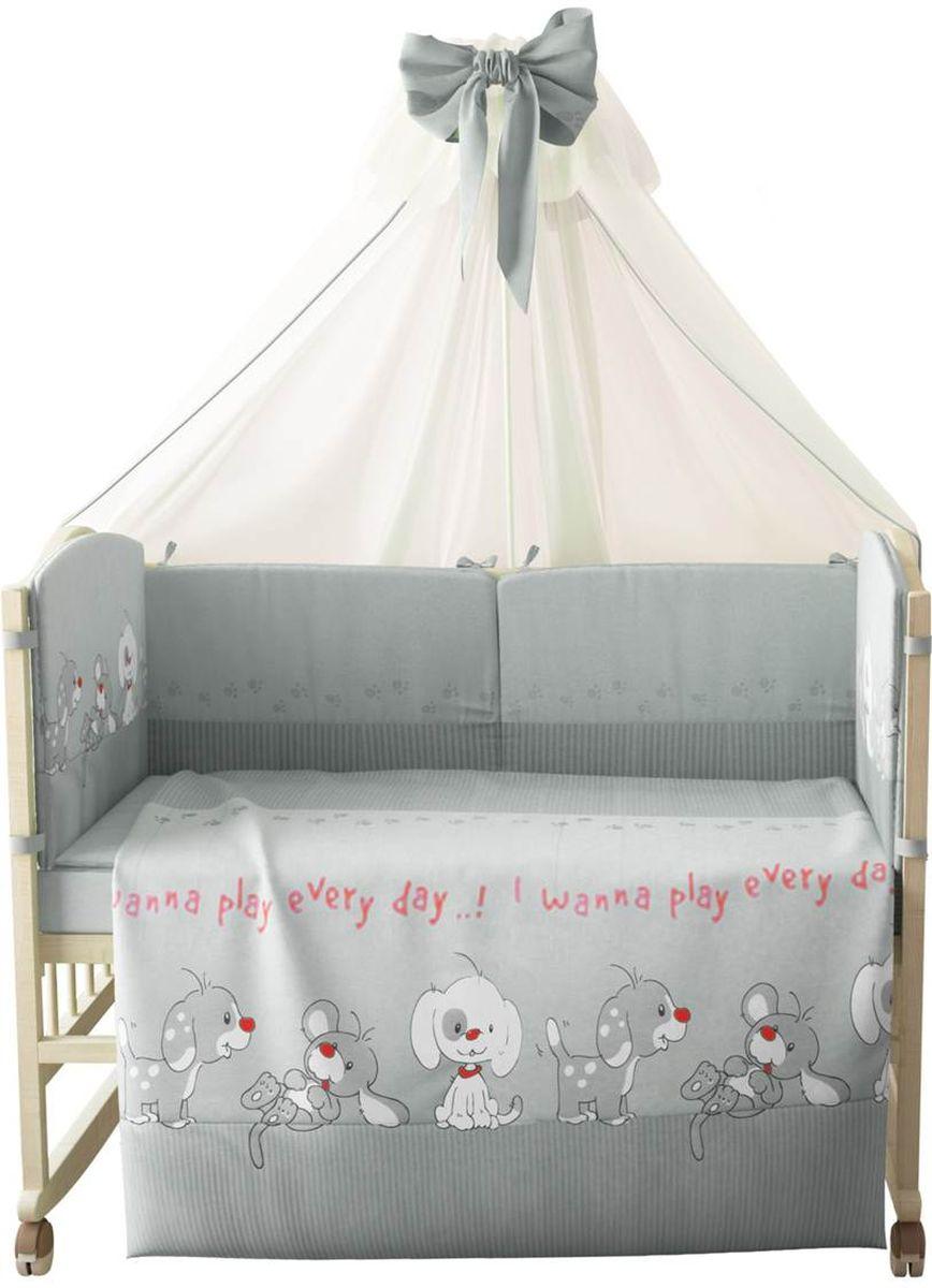 Фея Комплект белья для новорожденных Веселая игра цвет серый 7 предметов1015-3Комплект белья для новорожденных Фея Веселая игра выполнен в нежных тонах и украшен вышивкой. Комплект белья Веселая игра создаст комфорт и уют в кроватке малыша и обеспечит крепкий и здоровый сон, а современный дизайн и цветовые сочетания помогут ребенку адаптироваться в новом для него мире.Данный комплект хорошо впишется в интерьер как детской комнаты, так и спальни родителей.Комплект включает в себя наволочку 60 см х 40 см, пододеяльник 110 см х 140 см, простыню на резинке 110 см х 180 см, подушку 40 см х 60 см, одеяло 110 см х 140 см, штору балдахина 300 см х 170 см, борт в кроватку (2 части) 210 см х 41 см.