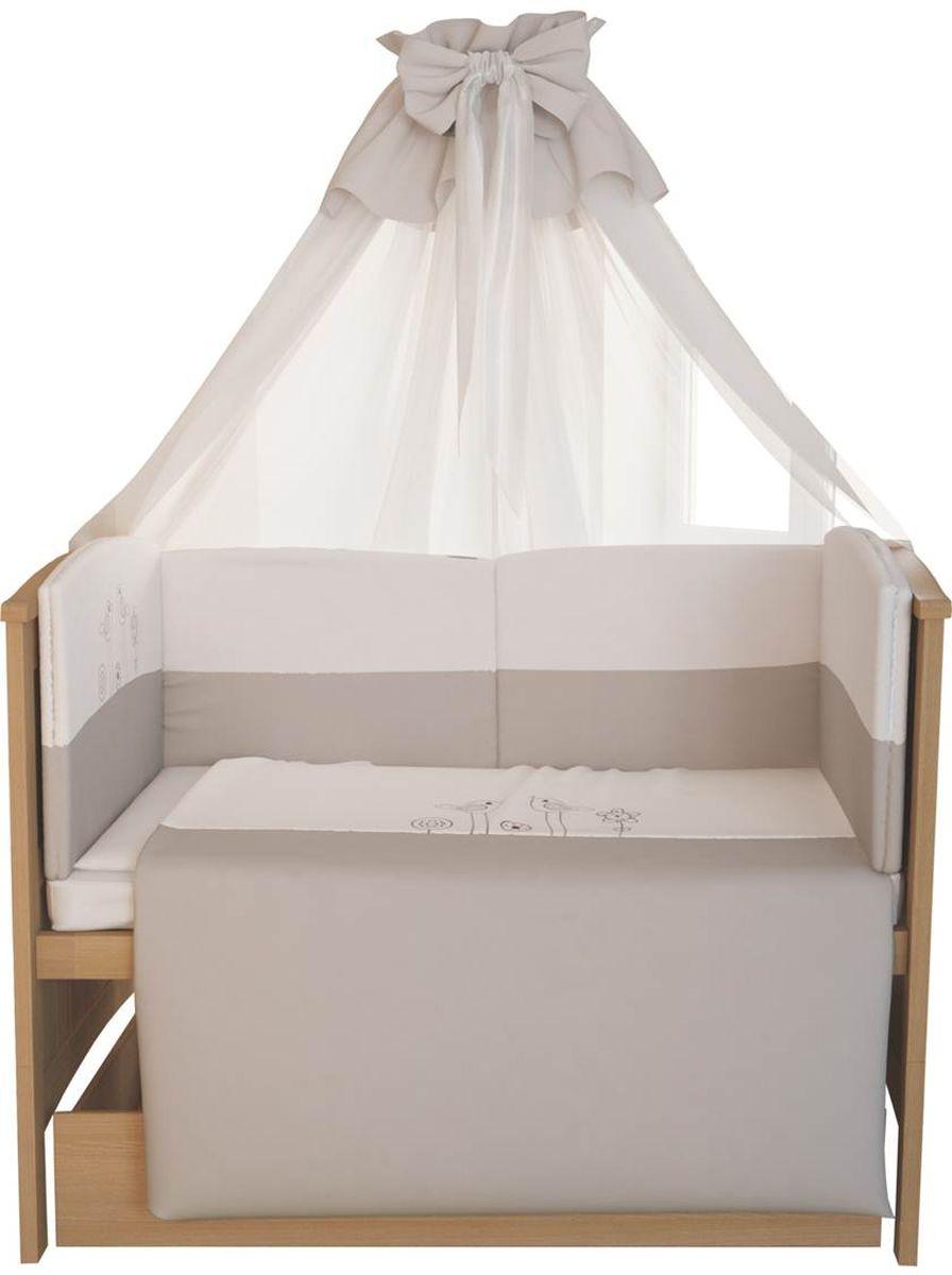 Fairy Комплект белья для новорожденных Волшебная полянка цвет белый коричневый 7 предметов, Fairy (ВПК)