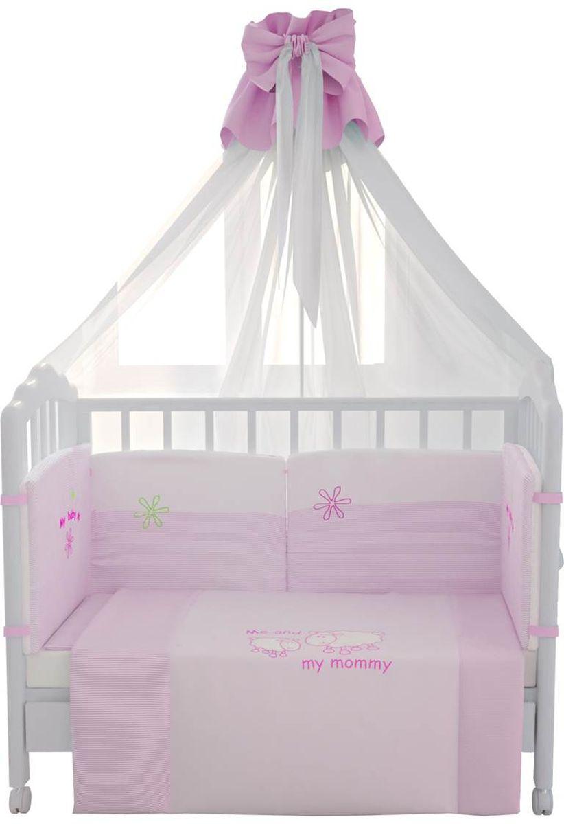 Fairy Комплект белья для новорожденных Белые кудряшки цвет белый розовый 7 предметов, Fairy (ВПК)