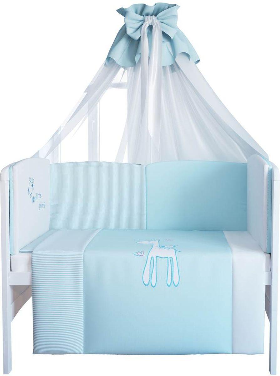 Fairy Комплект белья для новорожденных Жирафик цвет белый голубой 7 предметов 1020.100 fairy сумка для пеленок и подгузников жирафик