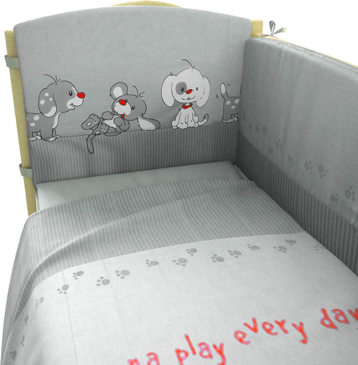 Фея Комплект белья для новорожденных Веселая игра цвет серый 6 предметов1064-3В комплект входят: Борт: 42 х 49 х 180 см Подушка: 40 х 60 смОдеяло: 110 х 140 смНаволочка: 40 х 60 смПростыня на резинке на матрац (120 х 60 см)Пододеяльник: 110 х 140 см