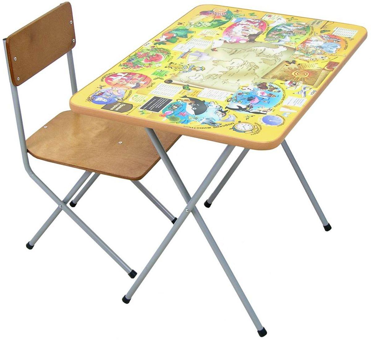 Фея Набор складной детской мебели Досуг цвет желтый5521-01Набор детской складной мебели Фея Досуг, состоящий из стола и стульчика, идеально подойдет для организации детских игр и занятий как в домашних условиях, так и в дошкольных учреждениях. Поверхность стола оформлена яркими обучающими рисунками. За столом можно кушать, рисовать, лепить, собирать различные поделки.Поверхность стола ламинирована, благодаря чему ее легко мыть и чистить. После игры или занятий стул и стол при необходимости можно сложить, что позволяет использовать набор даже в малогабаритных помещениях и способствует его легкой транспортировке. Максимальная нагрузка: на стол - 30 кг, на стул - 40 кг.