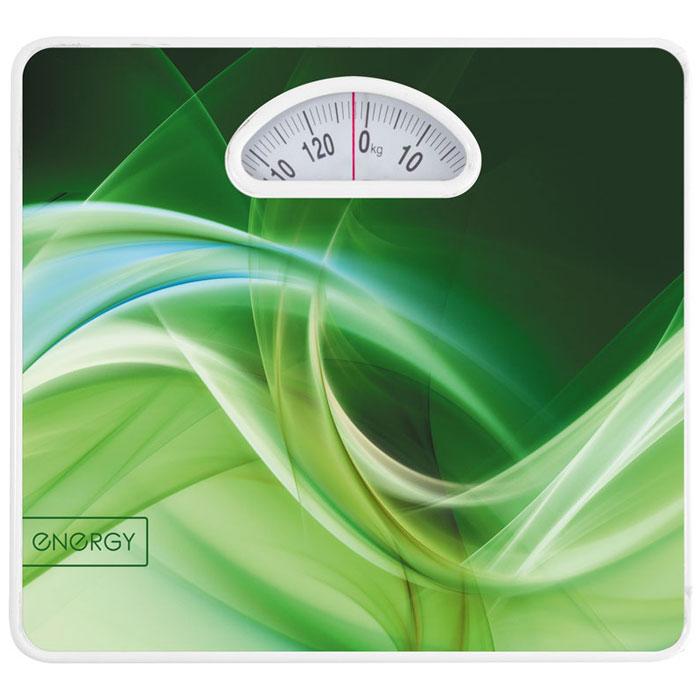 Energy ENМ-408A, Green напольные весы54 011622Напольные механические весы Energy ENМ-408A позволят быстро и просто измерить массу тела без необходимости покупать какие-либо элементы питания. Прочная платформа способна выдержать вес до 120 кг. Крупный шрифт надписей на шкале отлично подойдет для людей со слабым зрением.