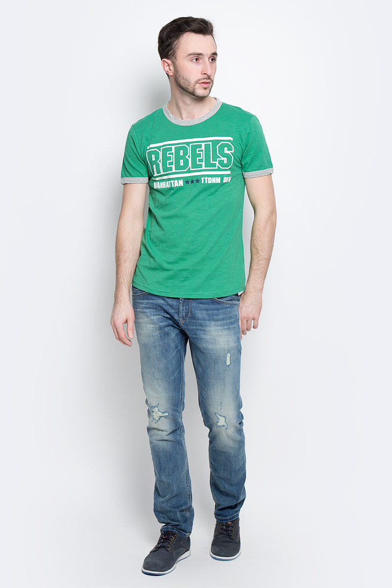 Футболка мужская Tom Tailor Denim, цвет: зеленый. 1037075.00.12_7772. Размер XL (52) джемпер мужской tom tailor denim цвет бордовый 3022104 01 12 4257 размер xl 52