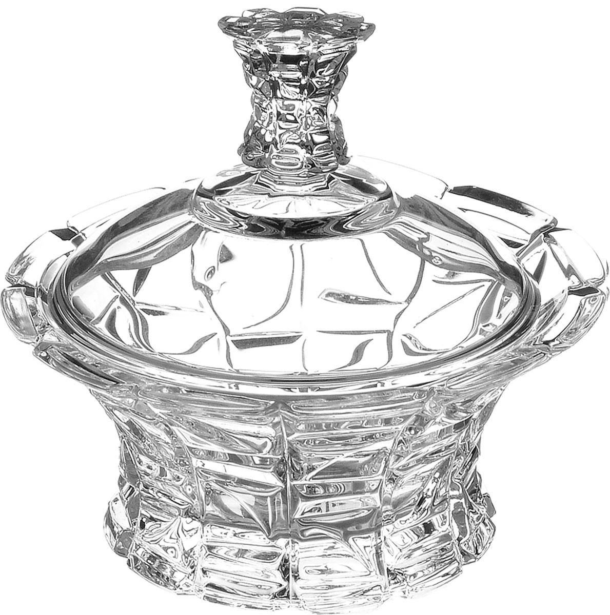 Конфетница Crystal Bohemia, с крышкой, диаметр 12,5 см990/53703/1/47610/125-109Элегантная конфетница Crystal Bohemia выполнена изнастоящего чешского хрусталя с содержанием 24% оксидасвинца, что придает изделию поразительную прозрачность ичистоту, невероятный блеск, присущий только ювелирнымизделиям, особое, ни с чем не сравнимое светопреломлениеи игру всеми красками спектра как при естественном, так ипри искусственном освещении. Изделие предназначено для подачи сладостей (конфет,сахара, меда, изюма, орехов и многого другого). Она придаетлегкость, воздушность сервировке стола и создаст особуюатмосферу праздника.Конфетница Crystal Bohemia не только украсит ваш кухонныйстол и подчеркнет прекрасный вкус хозяина, но и станетотличным подарком для ваших близких и друзей.Диаметр конфетницы (по верхнему краю): 12,5 см. Высота конфетницы (с учетом крышки): 11,5 см.