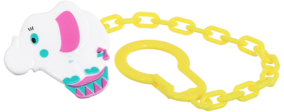 Lubby Клипса-держатель для пустышки Слоник цвет белый аксессуары для пустышек lubby клипса для пустышки слоник