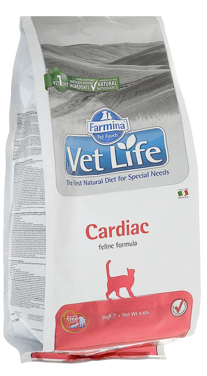 Корм сухой Farmina Vet Life для кошек, для поддержания работы сердца при хронической сердечной недостаточности, диетический, 2 кг корм сухой для кошек farmina vet life диетический для растворения струвитных уролитов 400 г