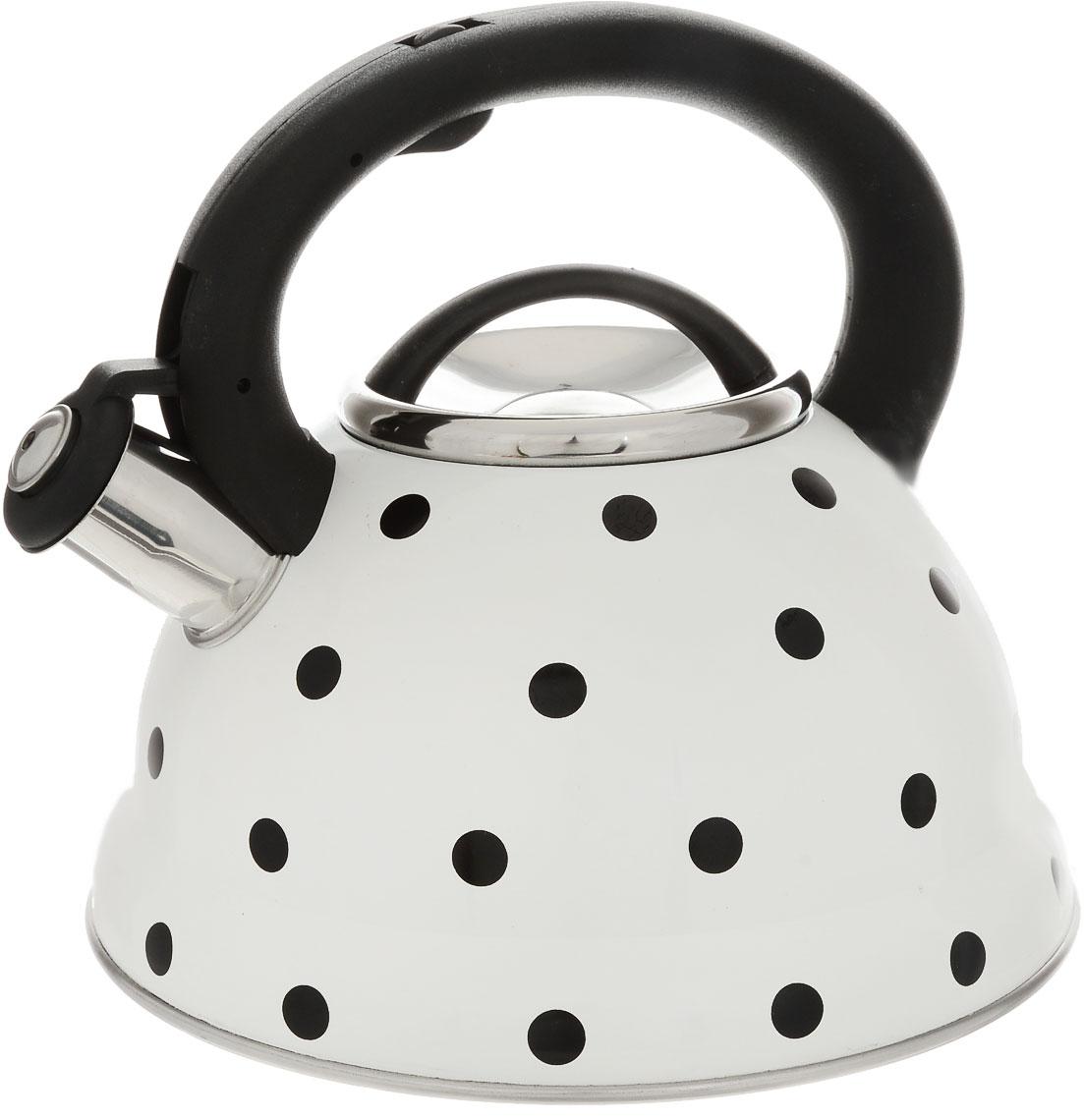 Чайник  Hoffmann , со свистком, цвет: белый, черный, 3,3 л - Посуда для приготовления